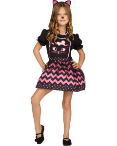 Fun World Cat Apron Girls Child Instant Costume Smock, One-Size, Pink Black