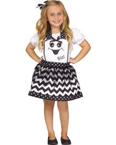 Fun World Ghost Apron Girls Child Instant Costume Smock, One-Size, White Black