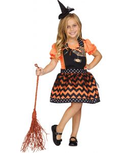 Fun World Witch Apron Girls Child Instant Costume Smock, One-Size, Orange Black