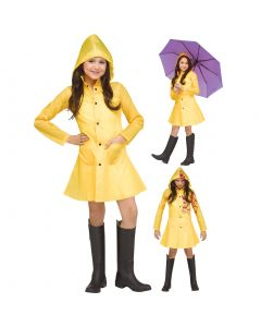 Fun World Costume Yellow Raincoat Hooded Coat, Medium 8-10, Black