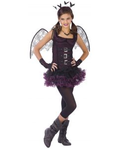Fun World Night Wing Bat Girls 6pc Tween Costume, Small 8-10, Black Purple