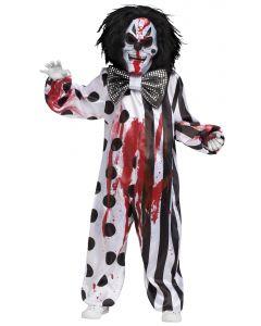 Fun World Bleeding Killer Clown 4pc Child Costume, Medium 8-10, Black White Red