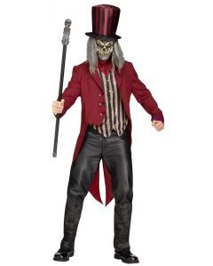 Fun World Freak Show Ringmaster 4pc Adult Costume, One-Size 6' 200 lbs, Red