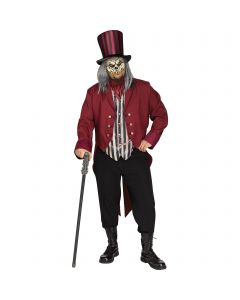 """Fun World Freak Show Ringmaster 4pc Adult Costume, One-Size 6'2""""/300, Red"""