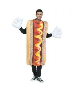 Silly hotdog full body tunic Adult Costume, One-Size, Tan Orange Yellow