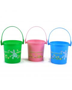 """Pastel Color """"Happy Easter"""" Round Plastic Treat or Favor 4.5"""" Gift Bucket"""