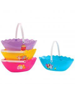 """Cracked Half Easter Egg Waved Edge with Handle 10.25"""" Gift Bucket"""