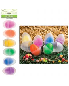 "6 Color 2.5"" Plastic Easter Eggs In 3.5"" Clear Egg, Pack of 12 Containers"