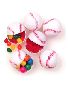 "Baseball Sports Candy Containers 2.25"" Plastic Easter Eggs, White Red, 6 Pack"