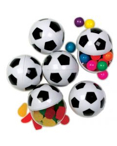 "Soccer Sports Candy Containers 2.25"" Plastic Easter Eggs, White Black, 6 Pack"