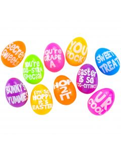 "Bright Punny Message Containers 2.5"" Plastic Easter Eggs, Assorted, 10 Pack"