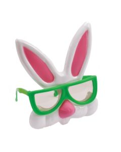 Easter Nerdy Bunny Rabbit Plastic Costume Glasses, One Size, Green White