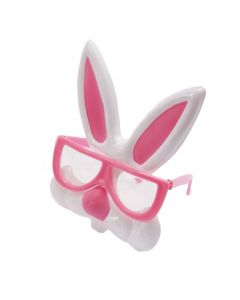 Easter Nerdy Bunny Rabbit Plastic Costume Glasses, One Size, Pink White