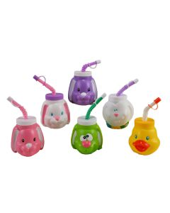 Fun World Assorted Easter Character Drink Cup w Screw On Cap & Bendy Straw