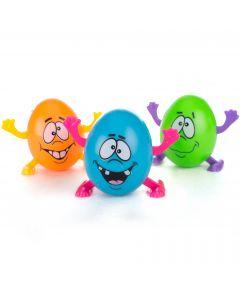 "Walking Crazy Eggs Easter Gift Decor 2"" Wind-Up Toys, Blue Green Orange, 3 Pack"