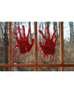 "Fun World 3D Bloody Pair of Hands Decoration Window Cling, 9"", Red, 2 Pack"