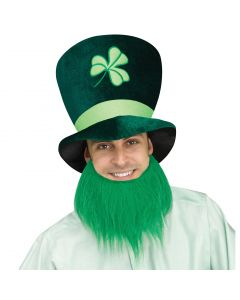Tall St Patrick's Day Green Leprechaun Party Hat w Dark Green Beard, One-Size