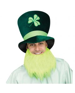 Tall St Patrick's Day Green Leprechaun Party Hat w Lime Green Beard, One-Size