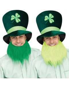 Tall St Patrick's Day Pub Crawl Green Leprechaun Party Hat w Beard, One-Size