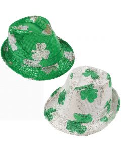 Shamrock Green & Silver St Patrick's Day Party Hat Sequin Fedora, One Size