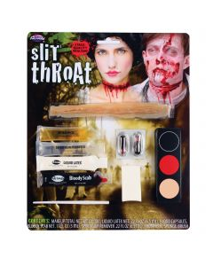 Fun World Bloody Slit Throat Gory Prosthetic 10pc Makeup Set, .25 oz, Red