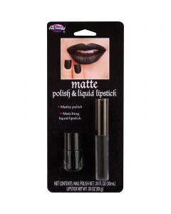 Fun World Deluxe Halloween Matte Lip & Nail 2pc Makeup Set, 0.19 FL OZ, Black
