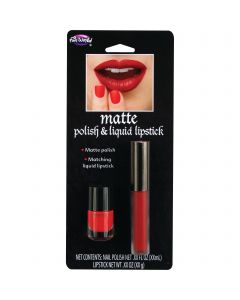 Fun World Deluxe Halloween Matte Lip & Nail 2pc Makeup Set, 0.19 FL OZ, Red