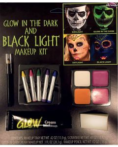 Fun World Glow in the Dark & Black Light 9pc Makeup Set, .84 OZ, .1 FL OZ