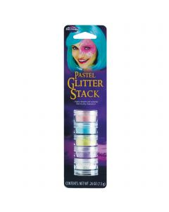 Fun World Halloween Pastel Unicorn Fairy Makeup 5pc Glitter Stack, .26 oz