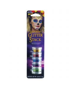 Rainbow Day of the Dead Sugar Skull Makeup 5pc Glitter Stack, .26 oz, Multicolor