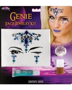 Fun World Genie Face Jewelry 4pc Makeup Kit, .17 fl oz, .09 oz, Blue Silver