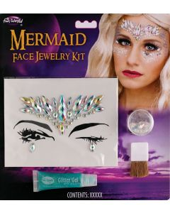 Fun World Mermaid Face Jewelry Halloween Costume 4pc Makeup Kit, White