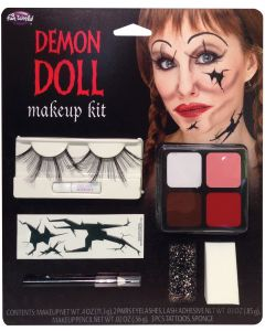 Fun World Demon Doll Makeup and Lash Kit 11pc Makeup Set, 1.4 oz, Red Yellow Tan