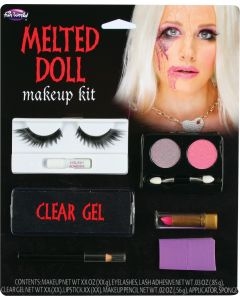 Fun World Melting Doll Makeup and Lash Kit 9pc Makeup Set, .13 oz, Pink Purple