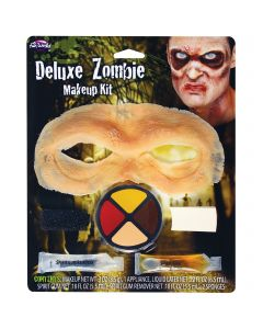 Fun World Zombie Prosthetic Eyes Check Bone 6pc Makeup Set .4 oz, Red Yellow Tan