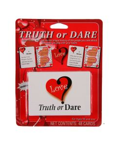 "Love Truth or Dare Cards learn, lison, talk 48pc 3.5"" Card Game, White Red"