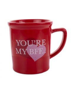 "Your're my BFF Valentine's Day Gift 12oz Stoneware 5"" Mug, White Red"