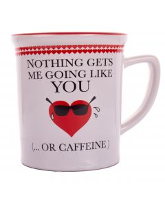 "Nothing Gets Me Going Valentine's Day Gift 12oz Stoneware 5"" Mug, White Red"