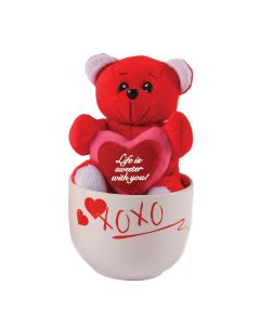 Plush Bear Holding Sign and Coffee Mug Valentine's Day 2pc 15oz Gift Set, Red