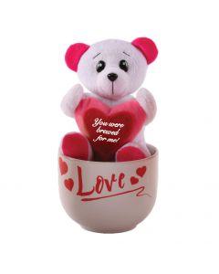 Plush Bear Holding Sign and Coffee Mug Valentine's Day 2pc 15oz Gift Set, White