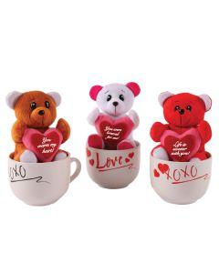 Plush Bear Holding Sign & Coffee Mug Valentine's Day 2pc Gift Set, 15oz