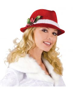 Fun World Slick festive Velvet Santa Claus Fedora, One Size, Red White