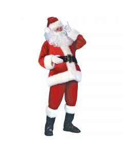 Velvet Deluxe Velour Santa Claus 6pc Men Costume, One Size 40-48, Red White