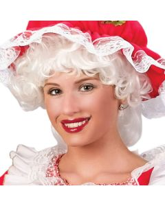 Fun World Christmas Curly Mrs. Claus Adult Costume Wig, One Size, White