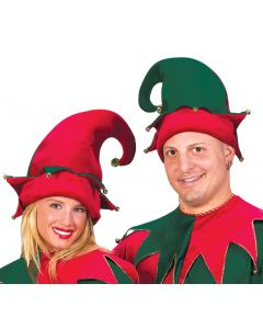 Fun World Christmas Santa's Helper Elf Adult Costume Hat, One Size, Red Green