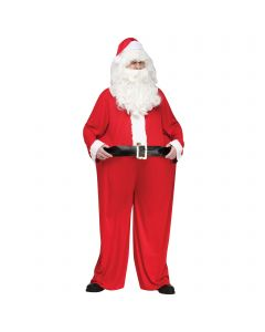 Christmas Fat Santa Hoop Waist 2pc Men Costume, One Size 6'/200lbs, Red White