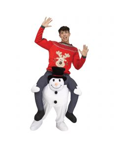 Fun World Christmas Snowman Carry Me 3D Adult Costume, White, One Size