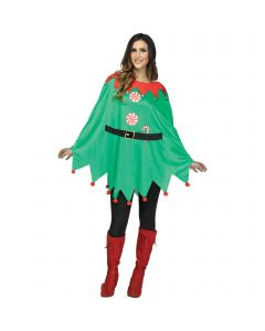 Fun World Holiday Printed Poncho Elf Costume Top, One-Size, Green Red White