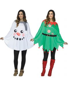 Fun World Festive Holiday Printed Character Poncho Costume Top, One-Size