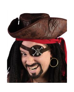 Fun World Caribbean Pirate Eye Patch Earring 2pc Costume Accessory Kit